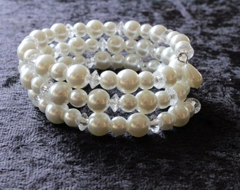 Elegant Memory Wire Bracelet with White Glass Pearls