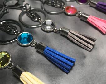 Boho Keyring, Silver Tassel Keychain, Jewel Tassel Keyring, Boho Princess Tassel Key Chain