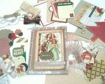 Christmas journal kit. Junk journal kit. Mixed media ephemera kit. DIY journal kit.