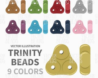 Vector Clipart Set of 3-Hole Trinity Beads - Digital Beads - Instant Download