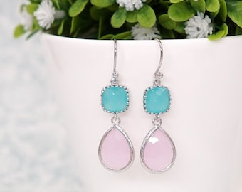 Mint Cushion Pink Teardrop Earrings | Silver | Simple Bridesmaid Bridal Wedding Jewerly Gifts | Something blue | GlitzAndLove E297