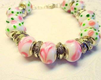 Pink and Green Lampwork Beaded Bracelet, Lampwork beads, Lampwork Jewelry