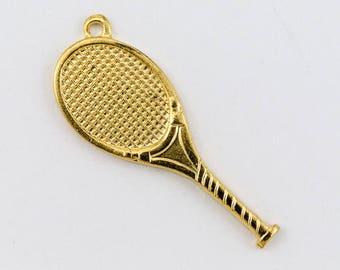 23mm Gold Tennis Racket Charm #CHA075