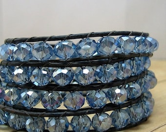 Blue Multi Wrap Bracelet, Leather and Crystal Wraparound Bracelet, Blue Jewelry, Crystal Jewelry