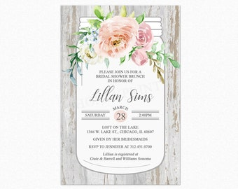 Rustic Country Bridal Shower Invitation, Rustic Shower Invitations, Floral, Mason Jar, Personalized, Printable or Printed