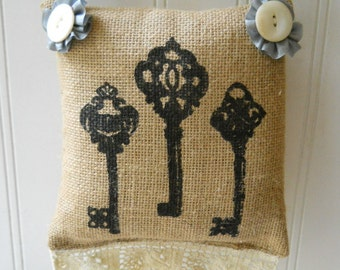 Small hanging burlap pillow key motif vintage lace trim pearl button Swedish Grey French Cottage Chic