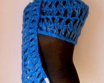 Wool scarf  Handknitted; Blue Scarf with luster