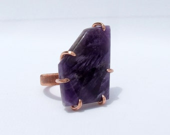 Amethyst Copper Ring, purple ring, natural stone ring, birthstone jewelry, February birthstone, statement ring, large stone. modern ring