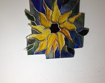 Handcrafted stained glass contemporary sunflower