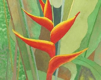 "Heliconia bloom, Original Watercolor, 11"" X 14"" vertical"
