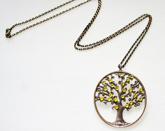 Tree of Life Pendant Necklace with Swarovski Crystals, Birthstone Jewelry