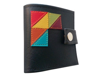 GeoTriangles ) Bifold Wallet With Snap (Plus Zipper)