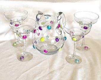 Margarita Pitcher & 4 glasses Set, Beaded Stemware, Cinco De Mayo, Beaded Glass, Bar Decor, Margarita Glass, Pitcher, Daquiri Set,Wine Charm