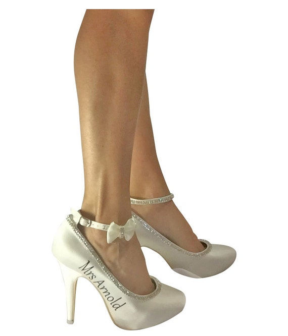 Mrs Colors Heels Wedding Bling Ivory Personalization Bride Satin Bows Silver with the and Choose for Sparkly High qUFaOw