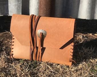 Leather Clutch w/ Concho Wrap