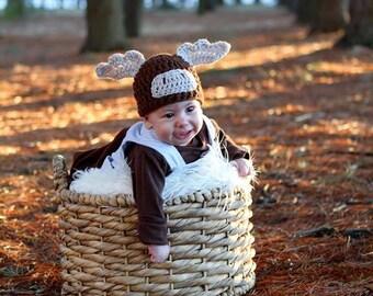 Moose Hat- Moose photo prop- moose beanie- woodland moose hat- moose costume- baby moose photo prop- newborn moose hat