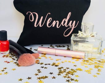 Personalized Cosmetic Bag, Personalized Makeup Bag, Cosmetic Bag, Bridesmaid Gift, Christmas Gift, Clutch, Gift,Bridesmaid Name Bag