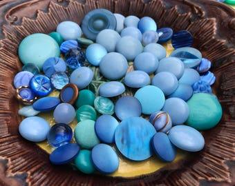 Blue Shank Button Collection - Vintage Shank Button Assortment - Assorted Vintage Plastics - Glass Lucite Buttons - B155 - 68+ Buttons