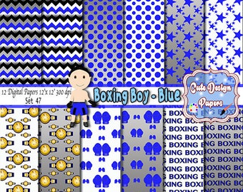 Boxing boy blue digital papers 12x12, digital backgrounds boxing, boxing papers, boxing blue boxing scrpabook boxing party boxing invitation