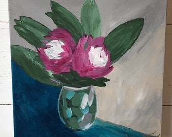 Pink and White Flower Painting