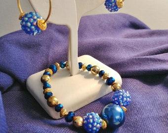 Handmade Blue & Golden Bead Stretch BRACELET + EARRINGS SET