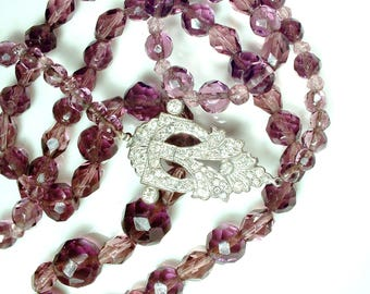 Vintage 1930's Art Deco Purple Crystal & Rhinestone Flapper Necklace, LONG Flapper Beaded Pave Clasp, 1920s Downton Abbey Gatsby Wedding