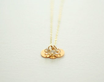 Gold Moonstone Circle Necklace