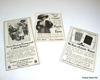 Vintage Magazine Ads, Set of Three, Advertisement, Peets, Reliable Woman, Foerderer Vici Kid   (490-12)