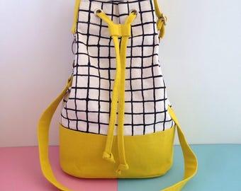 Screenprint Canvas Bucket Bag, Colour Block, Yellow Shoulder Bag, Grid Pattern Cross Body Bag