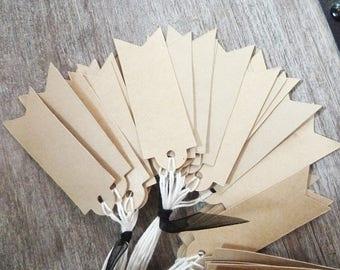30 labels kraft, vintage style, tie string ecru