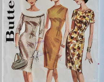 Vintage Sewing Pattern 1960s Womens Fitted Wiggle Dress with Wide Collar  Size 11 Bust 31.5 Butterick 2137