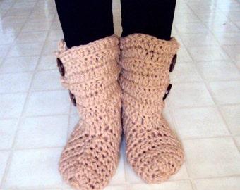 SALE! Bootie Slippers  Crochet Slippers Bootie Slipper Socks w/Buttons Easy on Boots