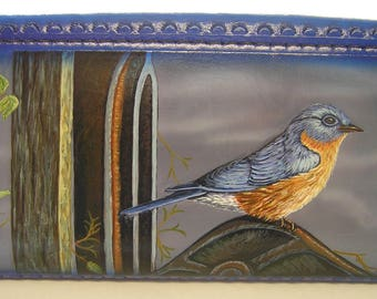 Wallet - Ladies - Leather with Crosshatch Pattern on front and Bluebird outdoor scene on back