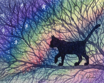 black cat 5x7 8x10 11x14 inch art print starry, starry night cat out and about silhouette night sky from a Susan Alison watercolour painting