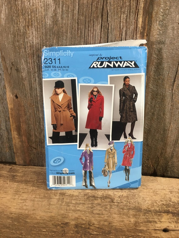 Simplicity Project Runway sewing pattern, uncut Project Runway, Simplicity 2311 from 2010, Coat sewing pattern, Project Runway coat pattern