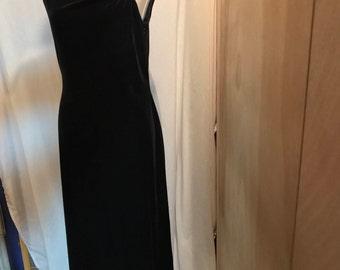 Asymmetrical velvet gown