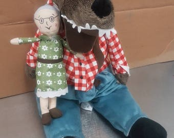 Little Red Riding Hood Big Bad Wolf and Granny plush set