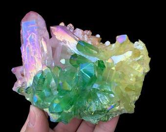 Free Shipping! Three-Color Aura Quartz Crystal Titanium Bismuth Silicon Cluster J314