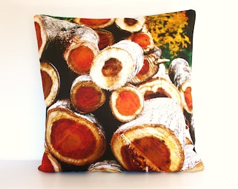 "wood pile firewood, log cabin Organic cotton Pillow cover, decorative cushion, 16 inch cushion FIREWOOD cushion cover, pillow, 16"", 41cms"
