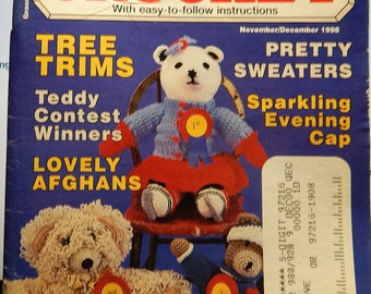 1998 QUICK & EASY CROCHET ..15+ Projects..Nov-Dec Edition..Tree Trims...Afghans...Sweaters...quilt block...teddy bears and clothes