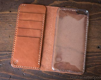 """iPhone 6+ (5.5"""") cell phone wallet case - chestnut harness leather"""