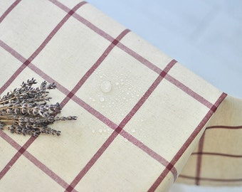 Laminated Linen Fabric - Wine Plaid - By the Yard 84765