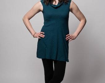 Organic Solstice Tunic. Cowl neck. Aline. Hemp/organic cotton knit. Hemp mini dress. Hemp dress. Hemp clothing. Hemp tunic.