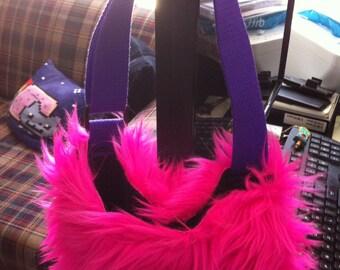 Pink Furry Handbag Small