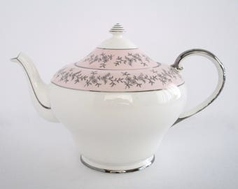 Royal Grafton England Fine Bone China Silver Dawn Pink Tea Pot, Vintage tableware