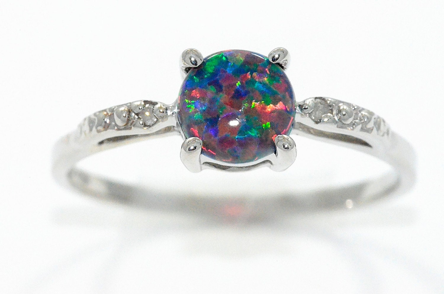 zoom - Black Opal Wedding Rings