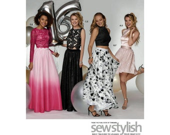 Misses' Special Occasion 2 Piece Dresses, Simplicity 8328, Halter, Sleeveless or Sleeve Tops, Full or Short Skirts, Sizes  4 - 12 or 12 - 20