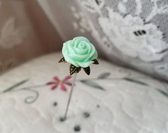 Victorian Antique Inspired Seafoam Green Rose & Filigree Brass Hat Pin, Scarf Pin, Stick Pin. DISPLAY or USE!