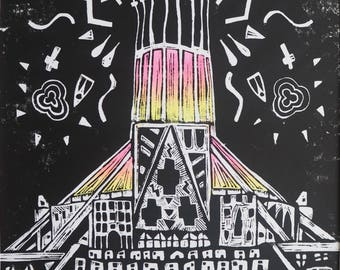 Habitats; Congregate Liverpool Metropolitan Cathedral Original Handmade Coloured Linocut Art Print