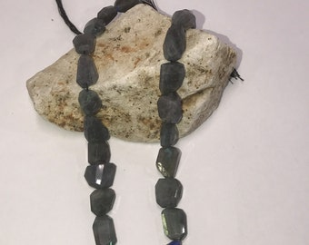 """1 Strand Labradorite Faceted Gemstone Nuggets Nugget Free size 14"""" Long"""